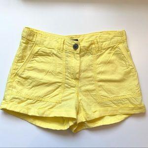 H&M Size 2 Yellow Linen Cotton Shorts